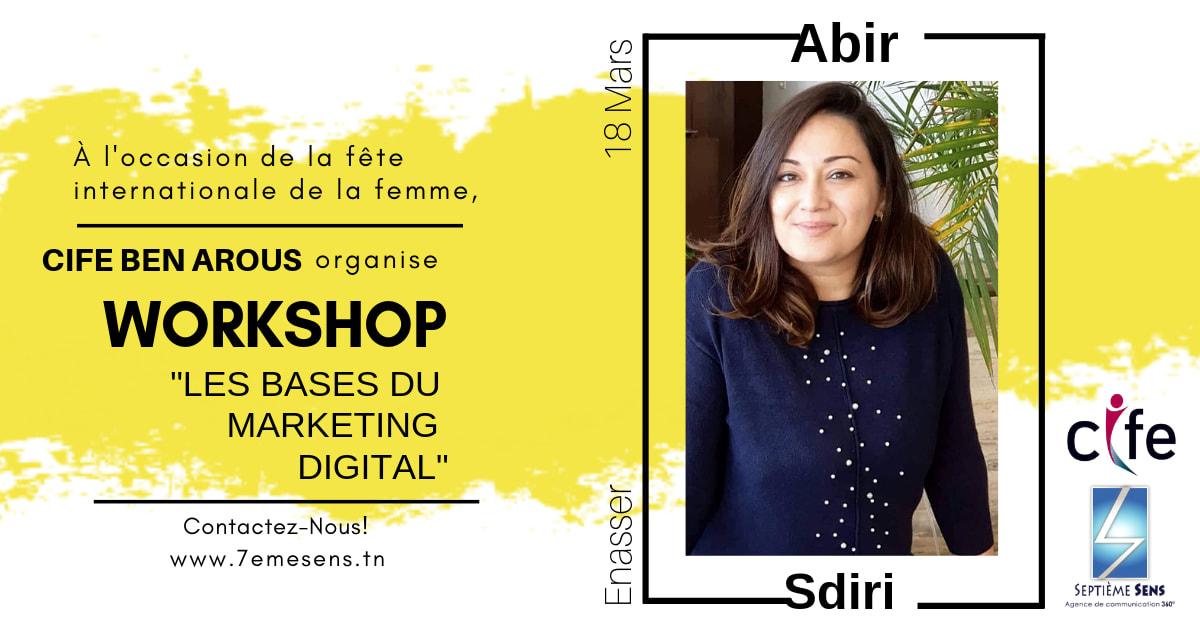 Abir Jlassi Sdiri Présidente Conseil International des Femmes Entrepreneurs CIFE Ben Arous - Formation Digital Marketing au service de l'Entrepreneuriat - Digital Tunisie